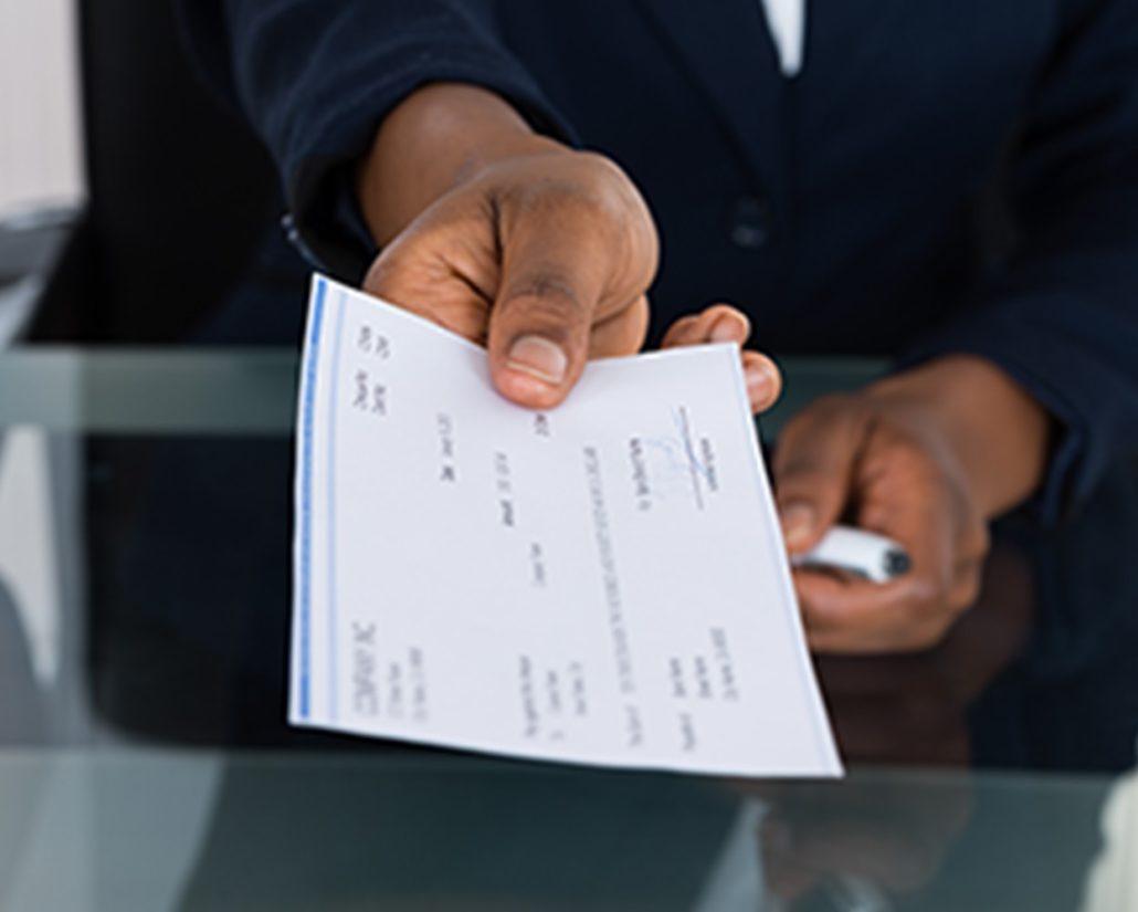 Receive a check